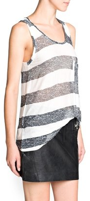 MANGO Washed effect striped top