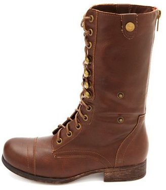 Charlotte Russe Floral-Lined Fold-Over Combat Boots