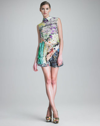 Mary Katrantzou Sleeveless Floral-Print Tunic & Crushed Soda Can-Print Shorts