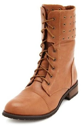 Charlotte Russe Studded Fold-Over Combat Bootie