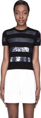 Marc Jacobs Black Sequin-Striped T-Shirt