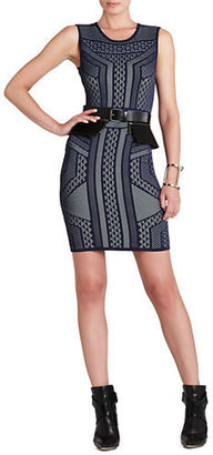 BCBGMAXAZRIA Stefanie Geometric Relief Jacquard Dress