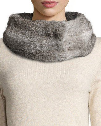 Hat Attack Rabbit Fur Reversible Cowl, Charcoal/Gray