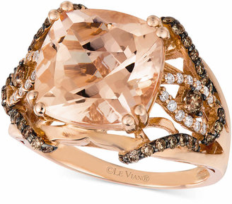 LeVian Le Vian Peach Morganite (5 1/4 ct. t.w.) and Diamond (5/8 ct. t.w.) Ring in 14k Rose Gold