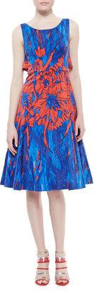 Tracy Reese Floral Printed Flyaway Dress, Blue/Scarlet