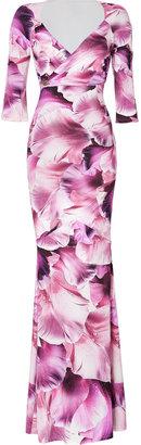 Roberto Cavalli Dew Drop Orchid Print Maxi Dress with Brooch
