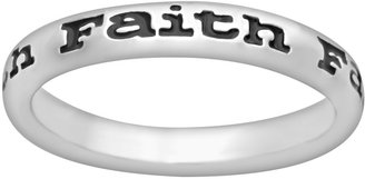 "Stacks & Stones Sterling Silver Black Enamel ""Faith"" Stack Ring"