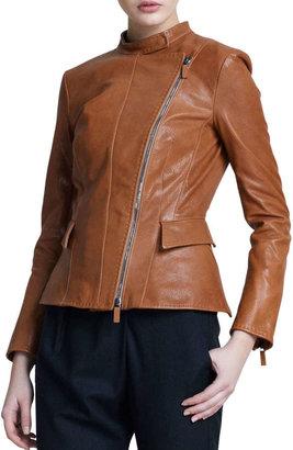 Giorgio Armani Asymmetric-Zip Leather Jacket, Light Brown
