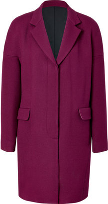 DKNY Dazzling Purple Wool Coat with Notched Lapel