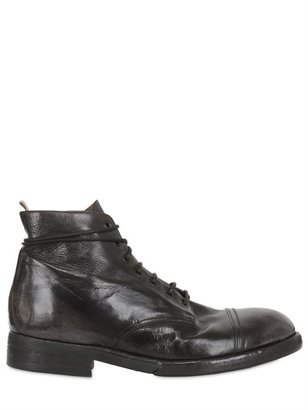 Officine Creative Brushed & Vintaged Leather Lace-Up Boots