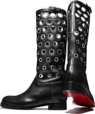 Christian Louboutin Apollobotta Red-Sole Flat Grommet Boot