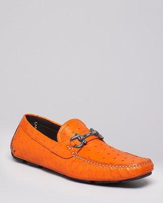 Salvatore Ferragamo Ostrich Skin Parigi 2 Driving Loafers