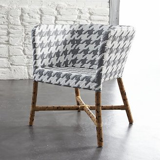Crate & Barrel Como Grey and White Woven Chair.