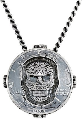King Baby Studio - Liberty Half Dollar Pendant Necklace w/ Carved Baroque Skull Necklace $660 thestylecure.com