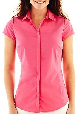 JCPenney Worthington® Essential Short-Sleeve Shirt - Petites