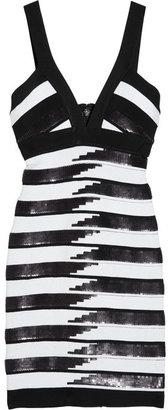 Herve Leger Sequined striped bandage dress