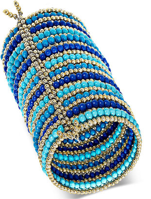 Style&Co. Bracelet, Gold-Tone Blue Multi-Color Seed Bead Long Cuff Bracelet