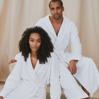 The White Company Unisex Cotton Waffle Double Faced Robe, White, Extra Small
