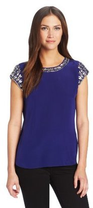 Rebecca Taylor Women's Short Sleeve Tee with Embellishment