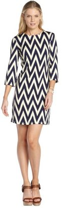 Julie Brown JB by navy and ivory stretch 'Maggie' chevron pattern 3/4 sleeve dress
