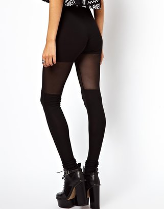 Asos Leggings with Over the Knee Mesh Detail