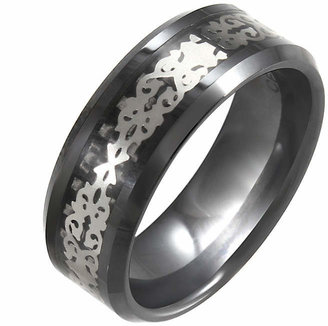 FINE JEWELRY Black Ceramic & Stainless Steel Patterned Band