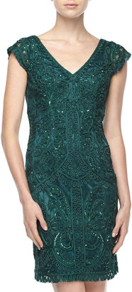 Sue Wong Cap-Sleeve Embellished Lace Gown, Forest Gown