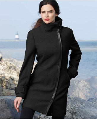 Calvin Klein Coat, Funnel-Neck Faux-Leather-Trim