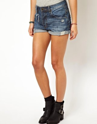 Asos Denim Boyfriend Shorts in Rip & Repair Vintage Wash