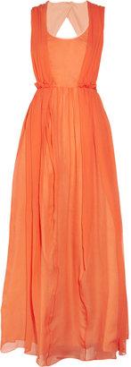 Carven Cutout hammered-silk dress