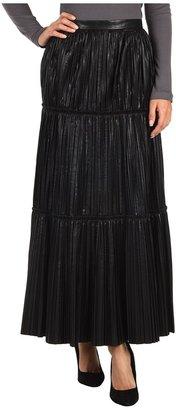 Anne Klein Pleated Leather Skirt (Black) - Apparel