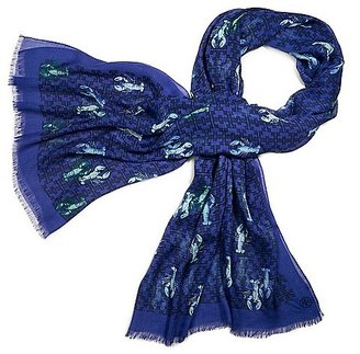 """Tory Burch Allover """"t"""" With Lobster Scarf"""