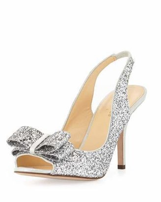 Kate Spade New York Charm Glittered Bow Slingback, Silver $328 thestylecure.com