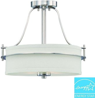 Illumine 2-Light Polished Nickel Semi-Flush Mount Light with White Linen Shade