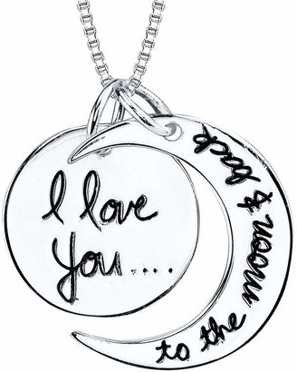 FINE JEWELRY Inspired Moments Sterling Silver I Love You To The Moon and Back Pendant Necklace