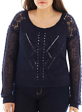 Arizona Cropped Lace Sweater - Plus