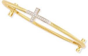 Jude Frances 18k Yellow Gold Rope & Diamond Cross Station Bangle