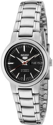 Seiko Women's SYME43 5 Automatic Black Dial Stainless Steel Watch