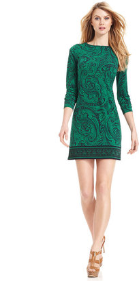 MICHAEL Michael Kors Dress, Long Sleeve Paisley Shift