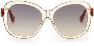 Balenciaga Transparent Framed Sunglasses, Champagne