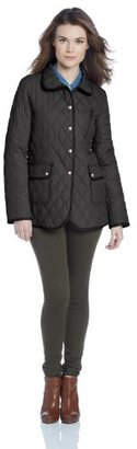 Larry Levine Women's Warm Quilted Barn Jacket with Piping Detail