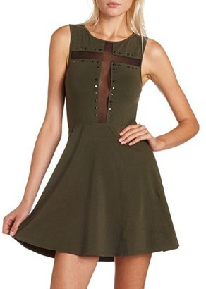 Charlotte Russe Mesh Cross Studded Skater Dress
