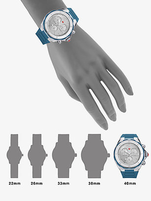 Michele Silicone & Stainless Steel Chronograph Watch/Steel Blue