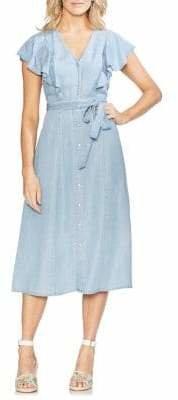 Vince Camuto Flutter Sleeve Belted Dress