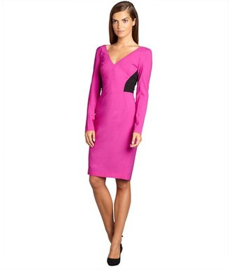 Rachel Roy pink and black sheer mesh back long sleeve stretch sheath dress
