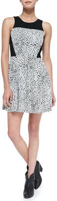 Parker Ramona Cutout-Back Snake-Print Dress, Black/White