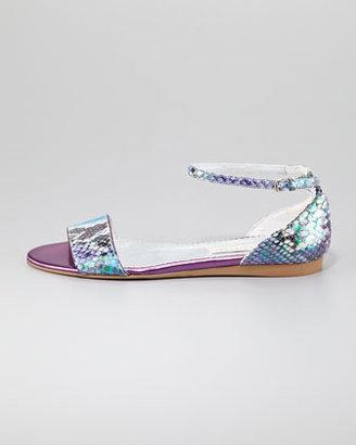 Stella McCartney Faux-Snake Flat Ankle-Wrap Sandal