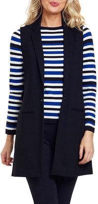 Joan Vass Petite Long Ponte Vest with Button Closure