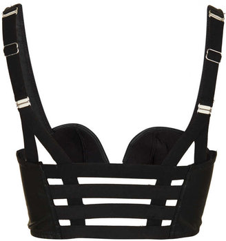 Topshop PU Lattice Back Bralet