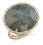 Irene Neuwirth Rose Cut Labradorite Ring with Pave Diamonds - Rose Gold